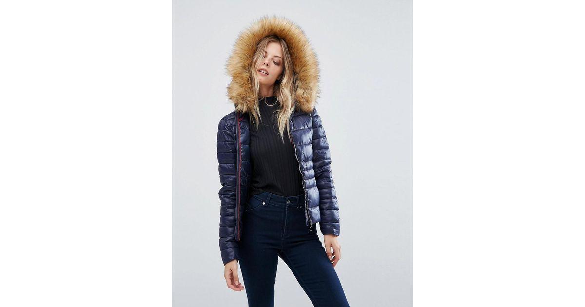 0dae9c2fbe5e Vero Moda Faux Fur Hooded Padded Jacket in Blue - Lyst