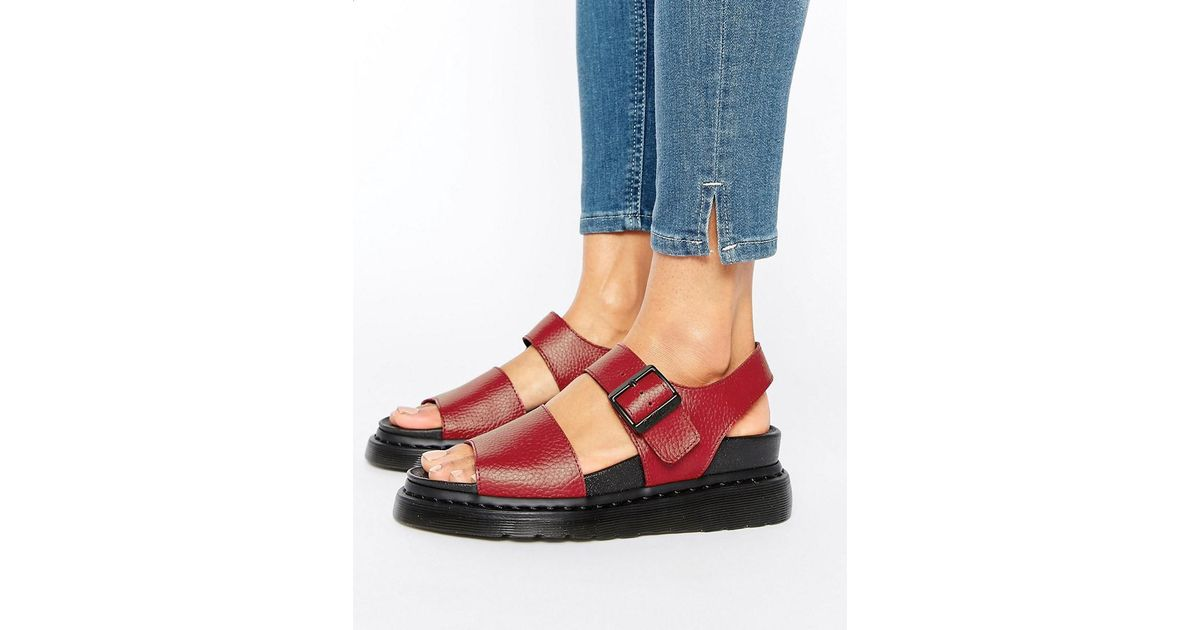 Romi Red Flat DrMartens Leather Sandals Strap CBstQrxhd