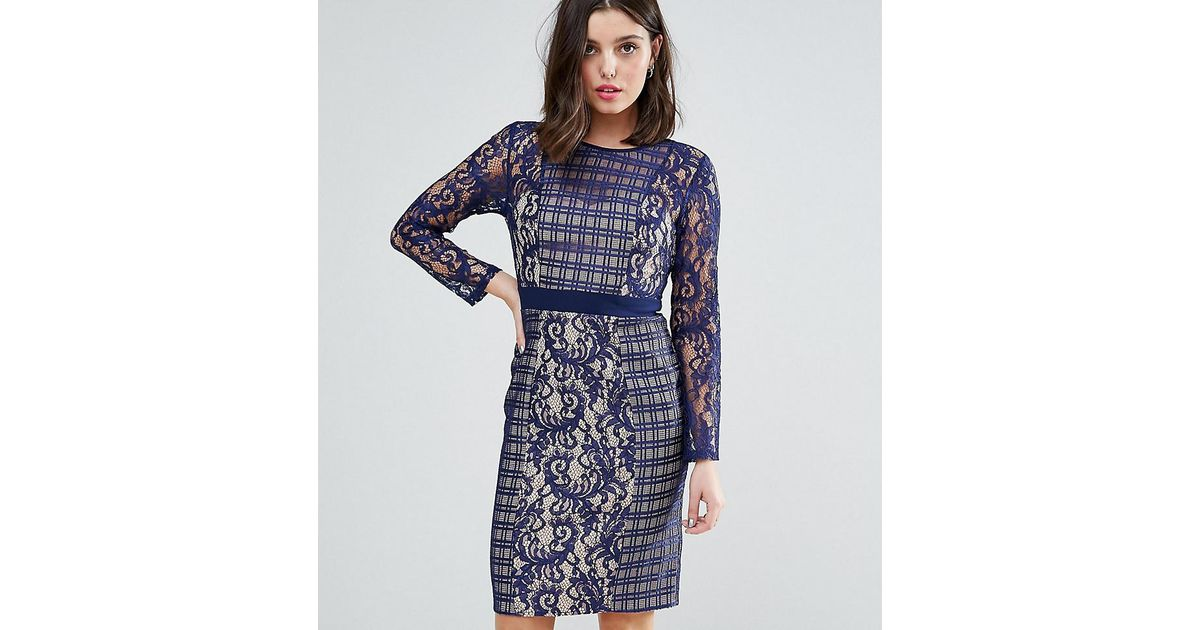 9a477bc0723 Lyst - Little Mistress Long Sleeve Contrast Lace Shift Dress in Blue