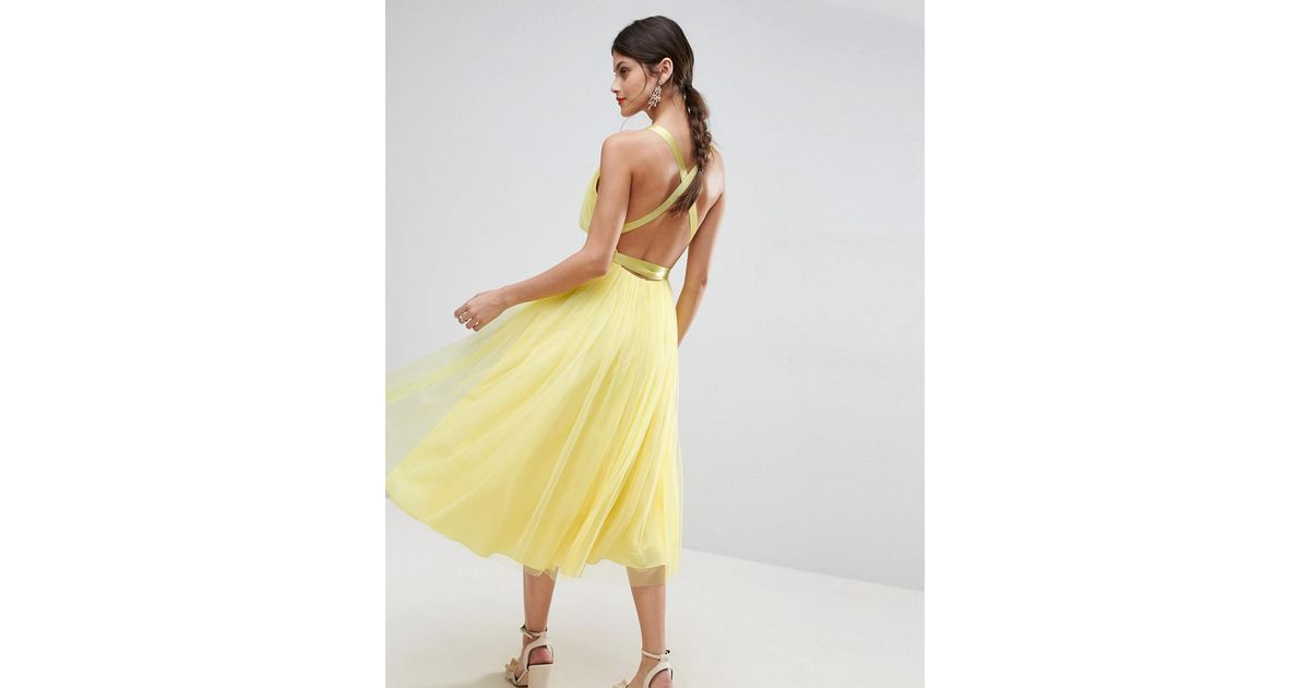 Lyst - Asos Premium Tulle Midi Prom Dress With Ribbon Ties in Yellow
