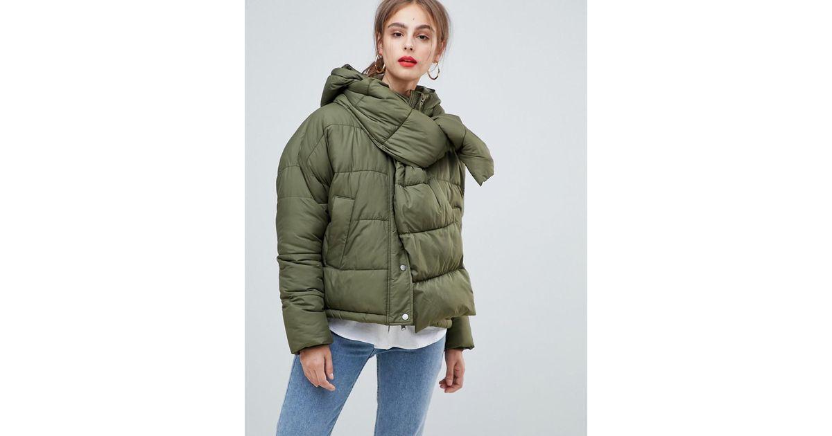 söpö kuponkikoodit Kuponkikoodi Vero Moda Green Hooded Padded Jacket With Scarf