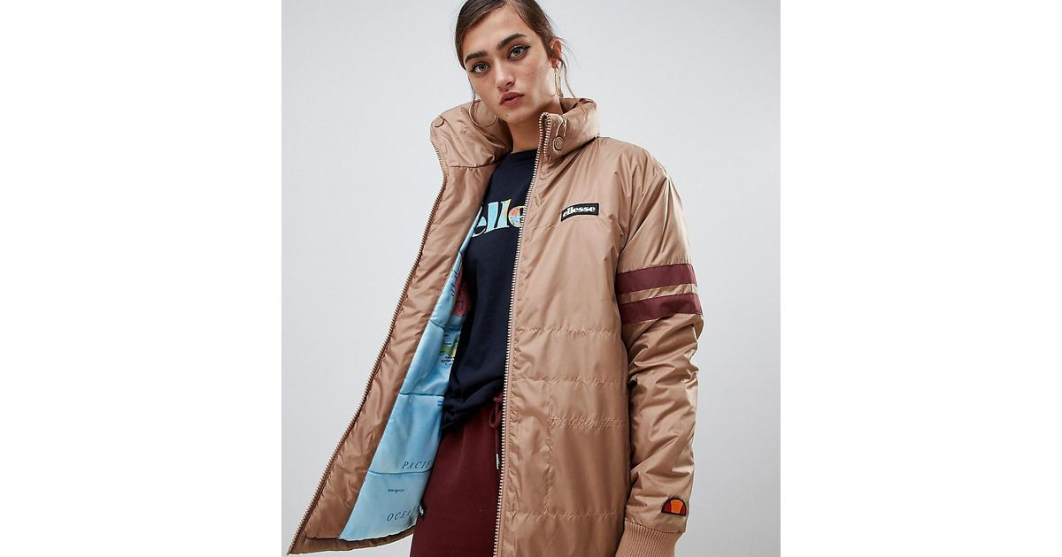 Ellesse Brown Jacket With Chest Logo And World Map Lining