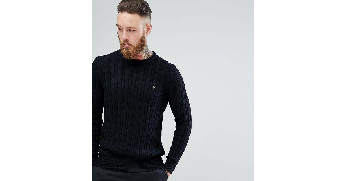 9e11cbc51ec Farah Ludwig Cable Knit Jumper In Black for men