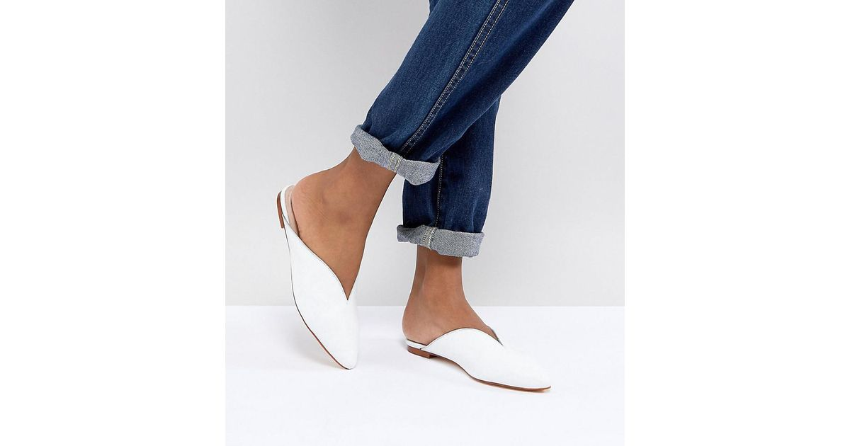 cheap online for sale clearance sale Office Farah White Leather Slip On Flat Mules