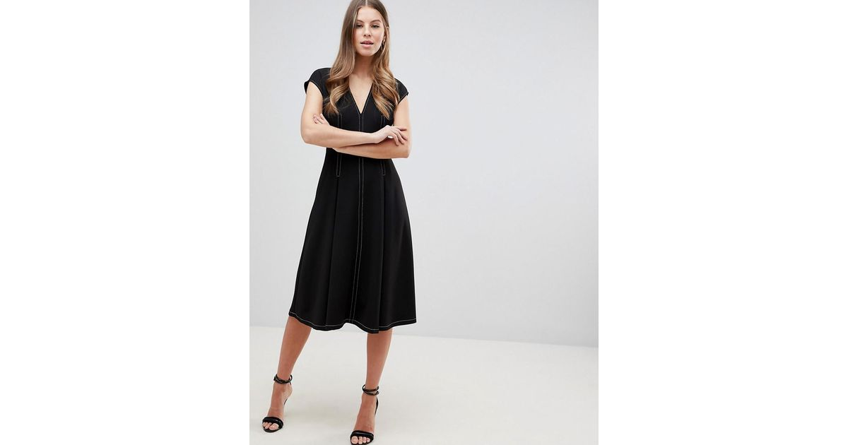 Lyst Asos Fit And Flare Midi Dress With Contrast Stitching In Black