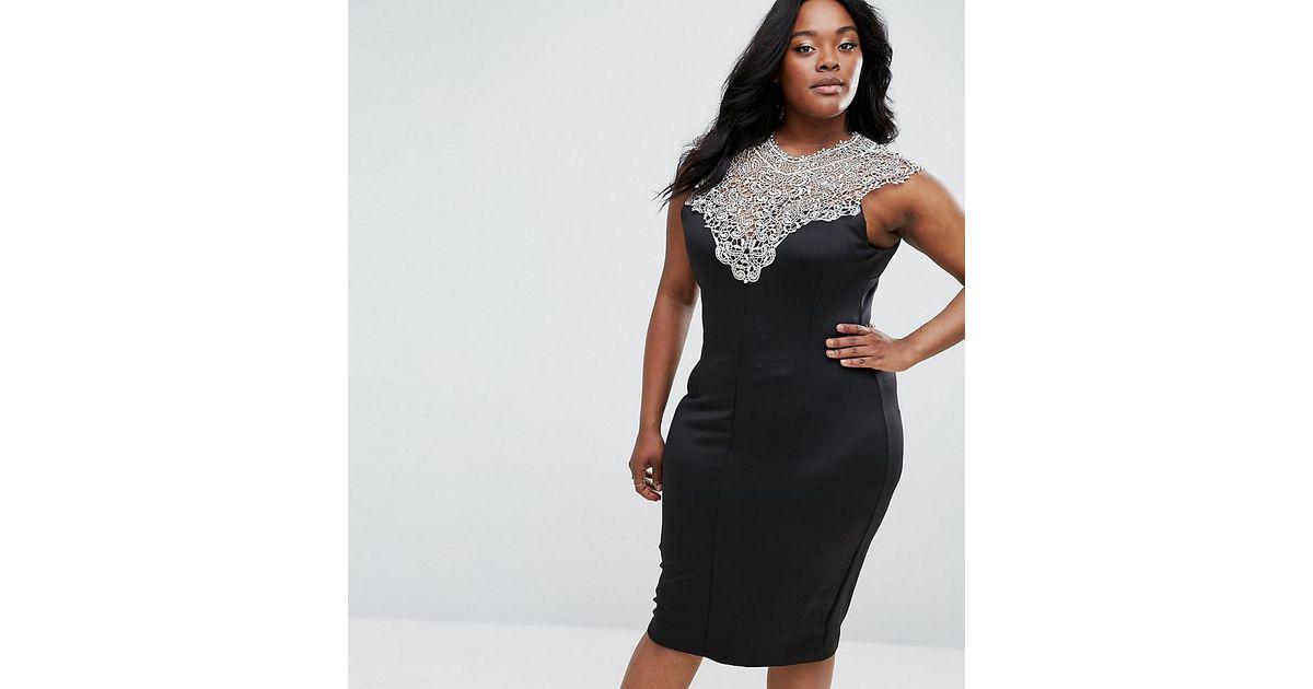 ... AX Paris - Blue Midi Dress With Lace Top - Lyst check out d820b 43b86  Ax  Paris Metallic Jacquard Skater Dress in Natural - Lyst size 40 ... 833ea6b94