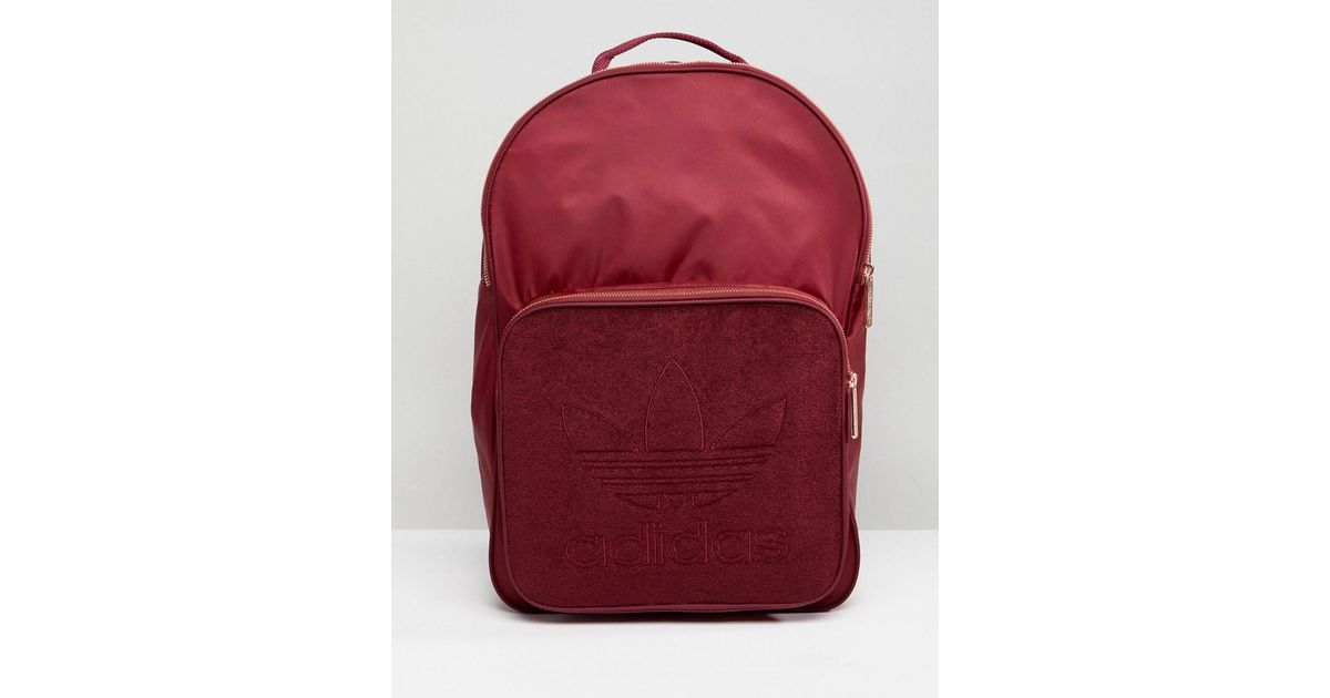 new style 1aabf 01df7 adidas Originals Classic Backpack In Burgundy With Rose Gold Hardware in Red  - Lyst