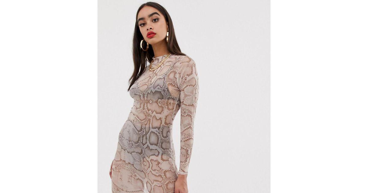 ada1a6aaec91 Boohoo Mesh Bodycon Mini Dress In Snake - Lyst