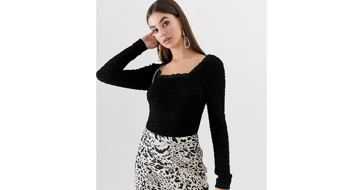 e385c18ae2c1d Lyst - ASOS Asos Design Tall Long Sleeve Square Neck Top In Ripple Texture  in Black