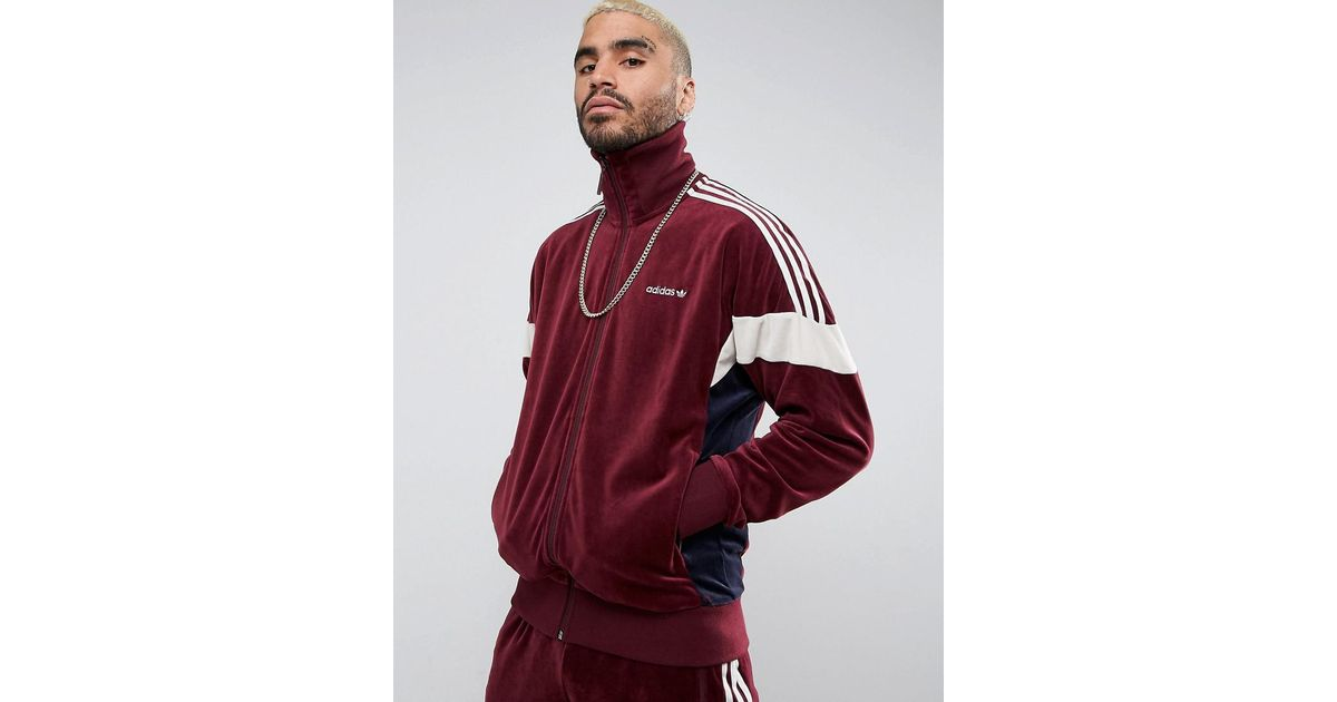 a few days away new lower prices lower price with Adidas Clr84 Velour Track Jacket In Red Bs4669 for men