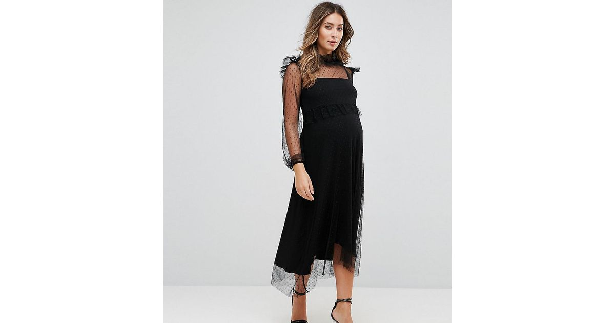 83d31eeef4d GeBe Maternity Midi Dress In Spot Mesh And Long Sleeve in Black - Lyst