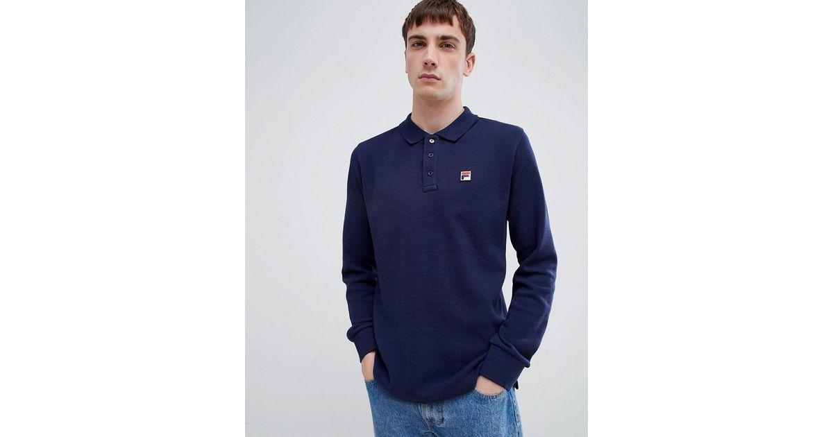 78d425f5 Fila - Blue White Line Bertoni Long Sleeve Polo Shirt In Navy for Men - Lyst