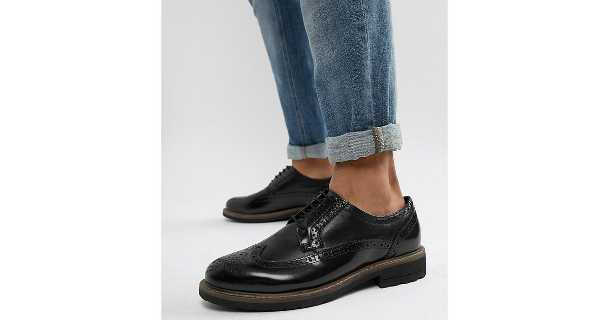 Dune Wide Fit Brogues In Black Leather