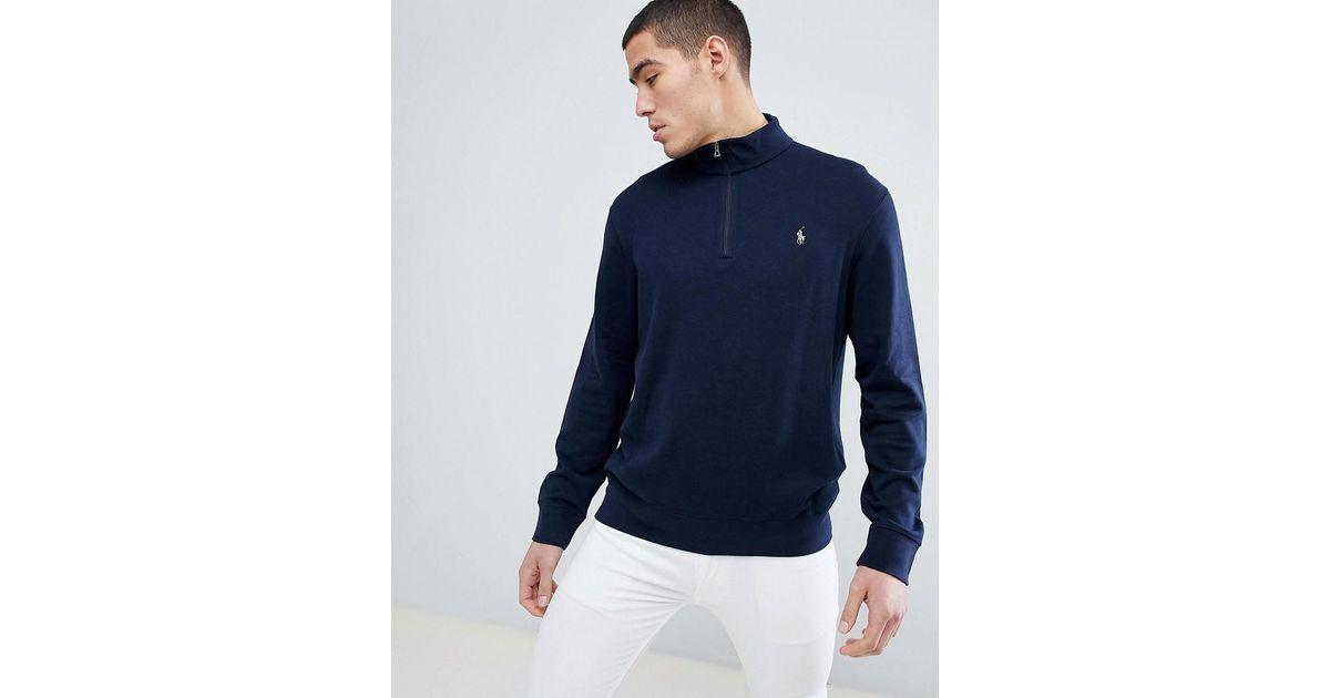 En À Sweat Shirt Demi Polo Pour Ralph Homme Fermeture Éclair Blue Lauren Coloris wO08PXnk