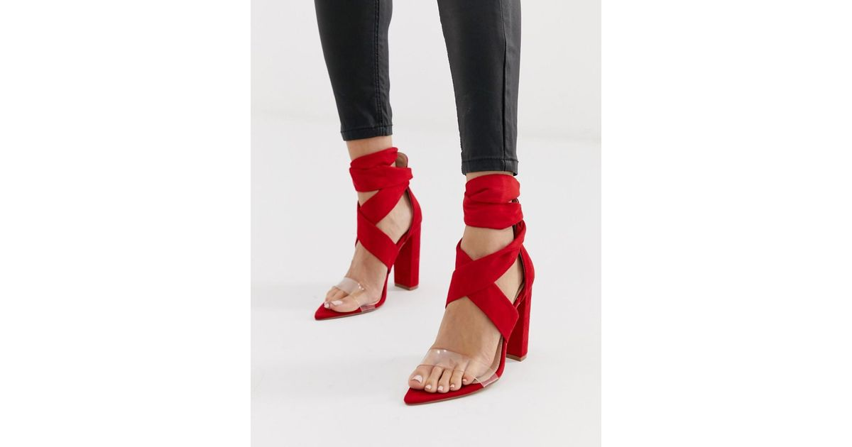 146686d17d Public Desire Jordy Bright Red Tie Up Block Heeled Sandals in Red - Lyst