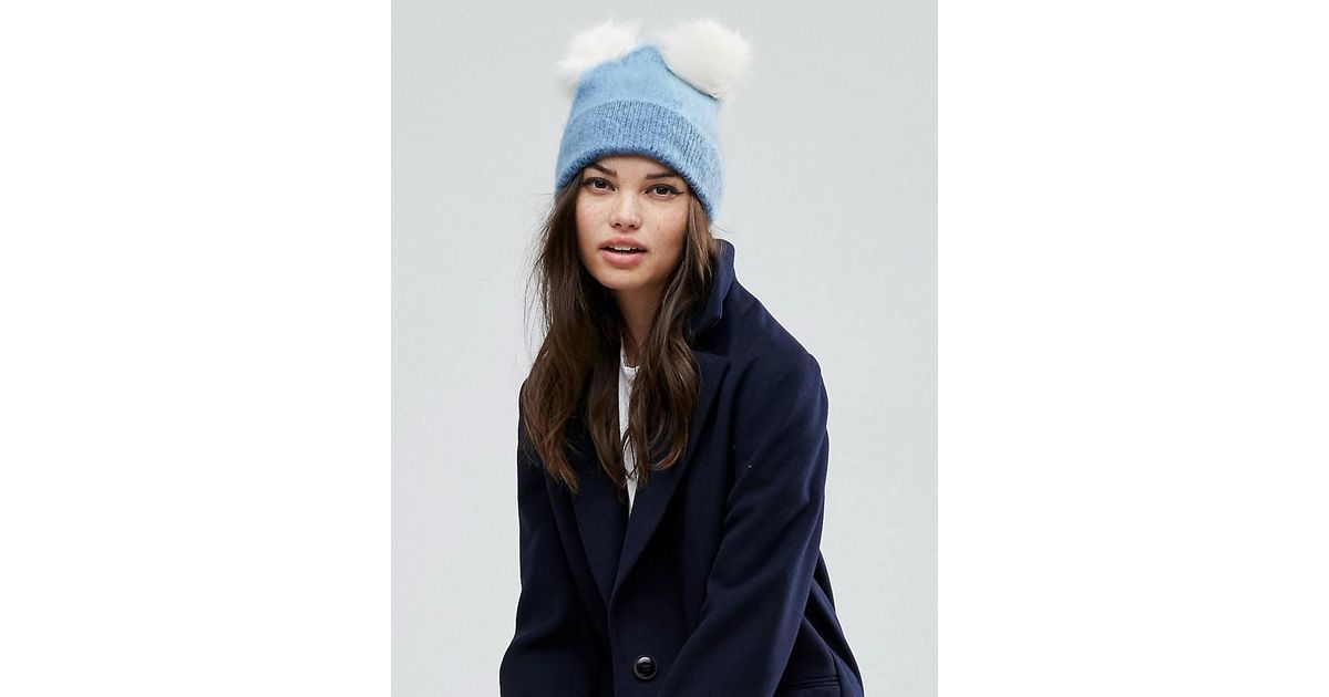 a15f414b1 ASOS Blue Fluffy Beanie With Double Faux Fur Pom