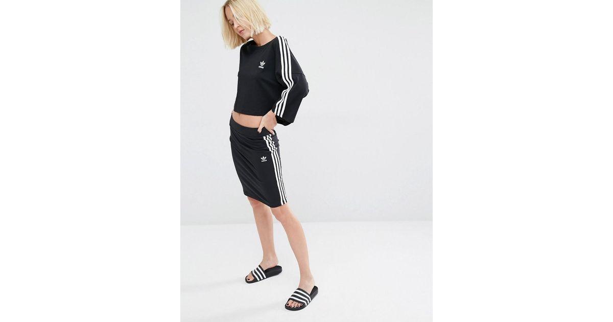 d589cd9da5ef Lyst - adidas Originals Three Stripe Skirt in Black