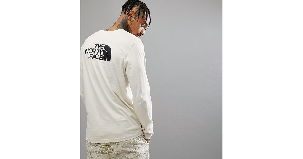 e74203910 The North Face Easy Long Sleeve Top Back Logo Print Exclusive To Asos In  Vintage White for men
