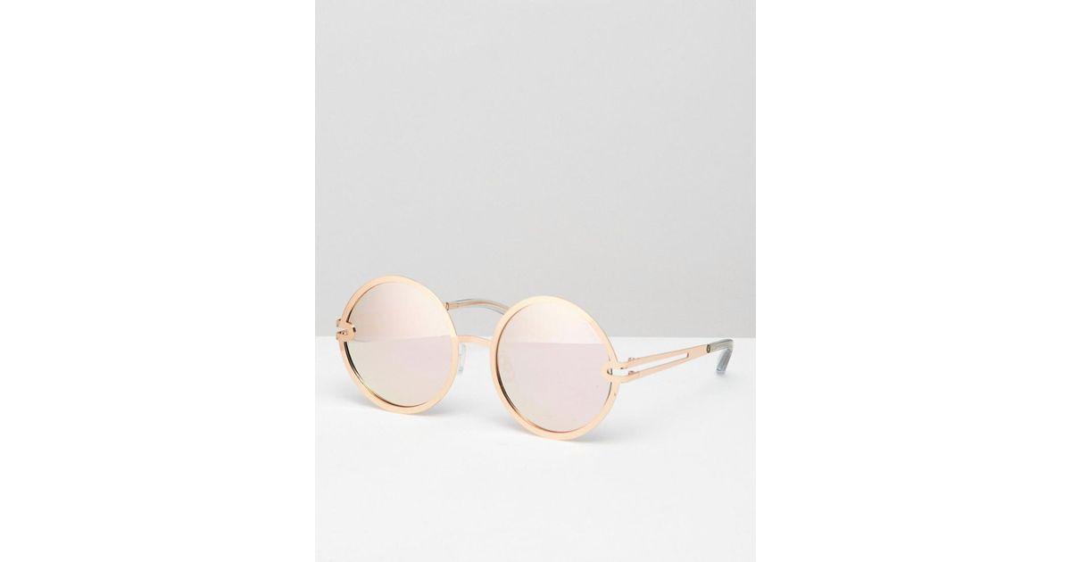 4c662a05fb90e Quay Ukiyo Round Frame Rose Gold Mirror Lens Sunglasses in Metallic - Lyst