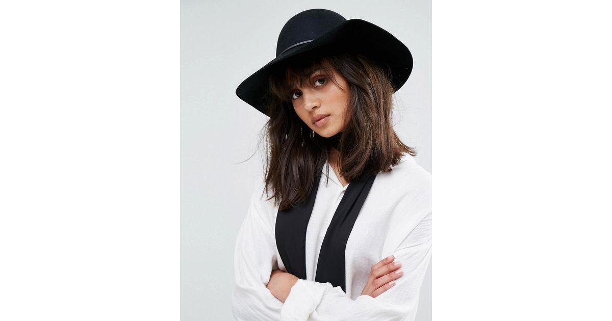 Lyst - ASOS Skinny Band Felt Floppy Hat in Black ef8433dd54f