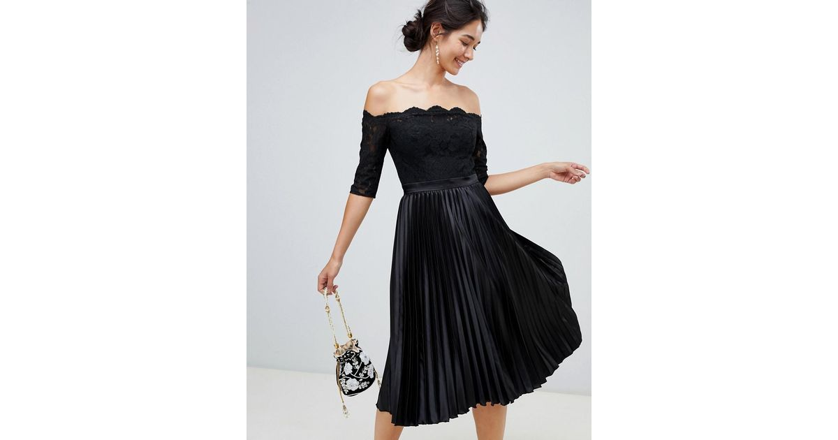 4beb518cf41 Chi Chi London Lace Top Midi Dress With Pleated Skirt In Black in Black -  Lyst