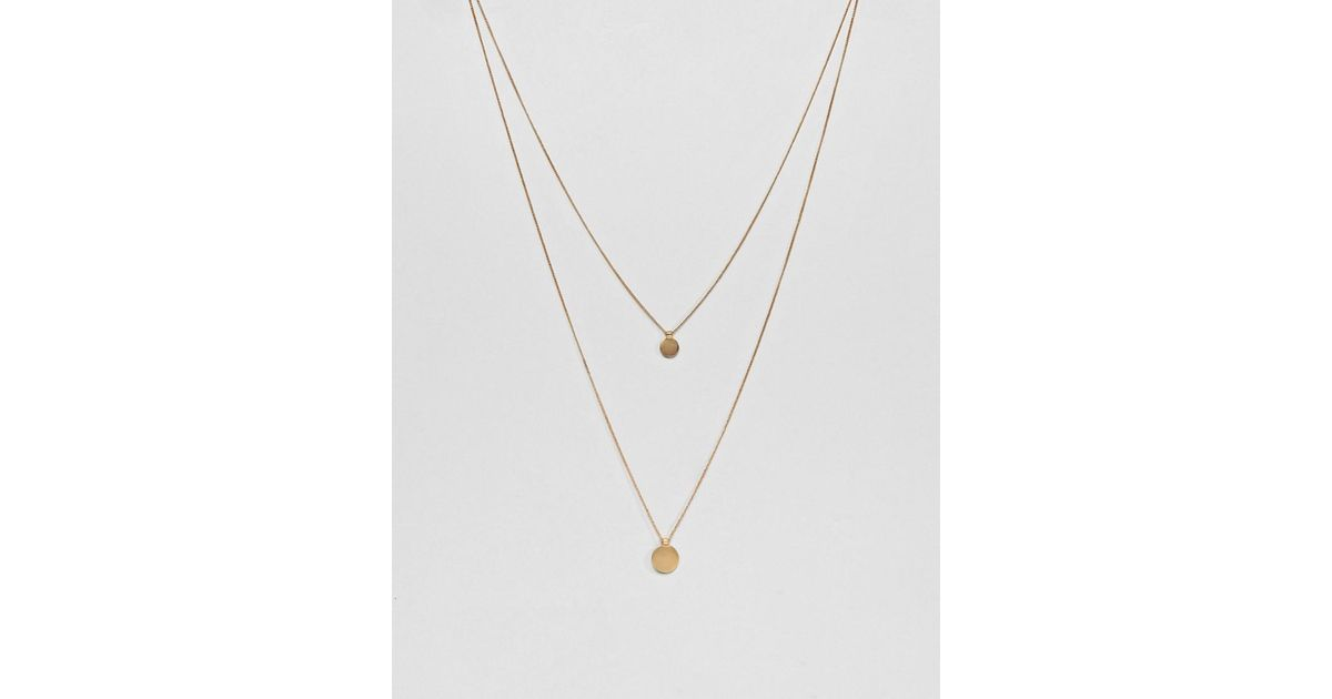 Lyst pieces multirow gold disc necklace in metallic aloadofball Gallery