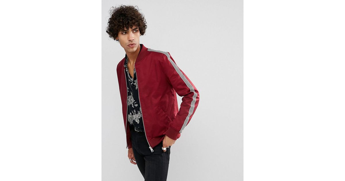 ba4315be2 ASOS Muscle Fit Bomber Jacket With Side Stripe In Red for men