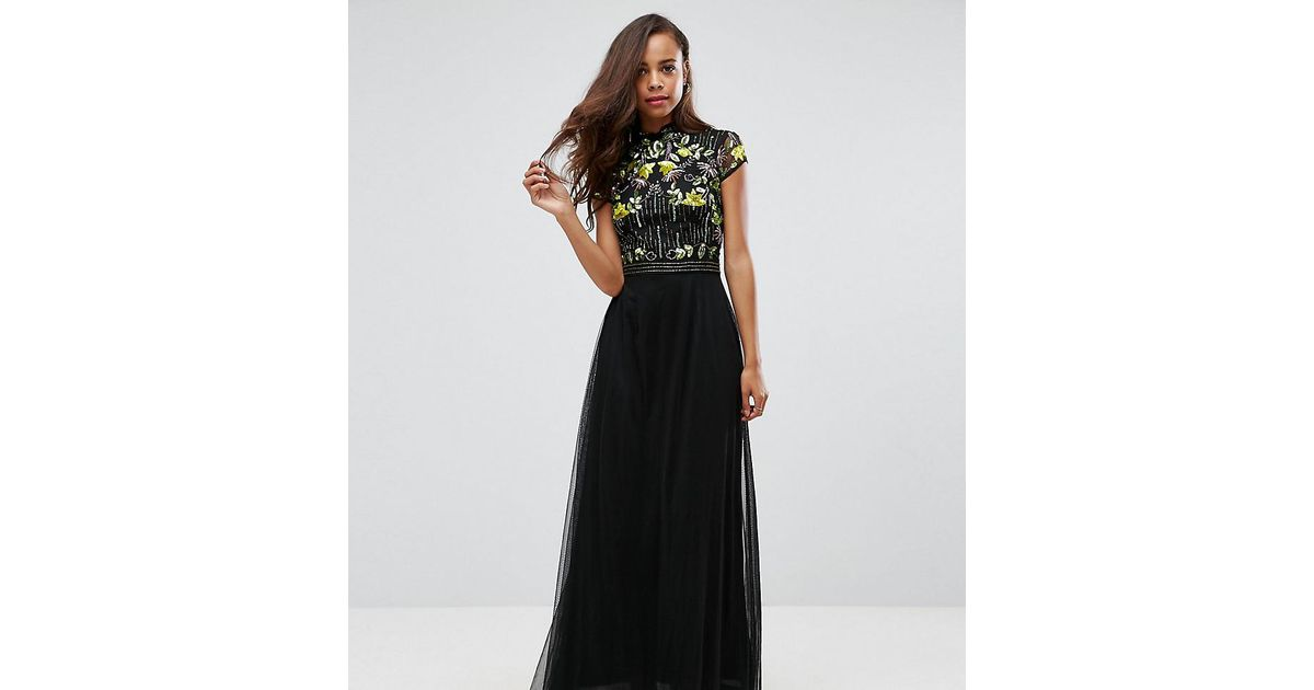 b19aeebe3fb Frock and Frill Embellished Top Maxi Dress With Mandarin Collar Detail in  Black - Lyst