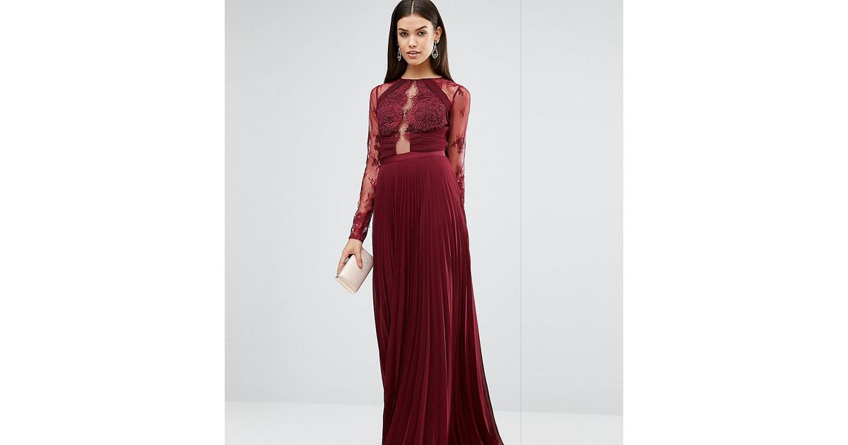 968d98579aba ASOS Wedding Pretty Lace Eyelash Pleated Maxi Dress in Red - Lyst