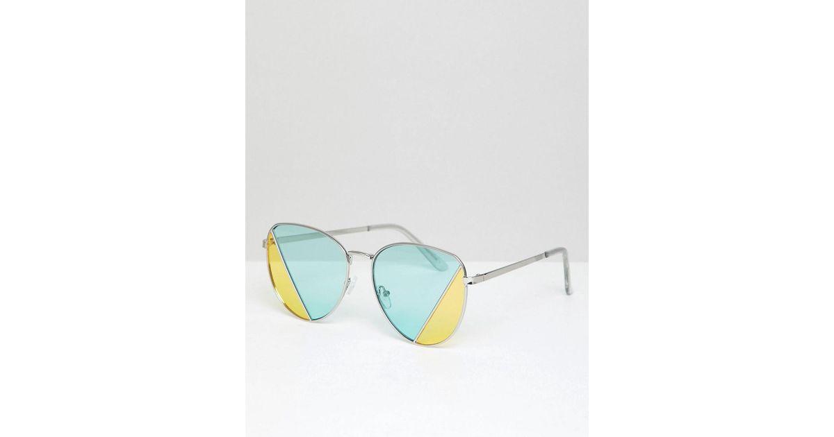 meilleure qualité style de mode classique chic Lunettes de soleil carres avec verres diviss verts et jaunes ASOS pour  homme en coloris Metallic