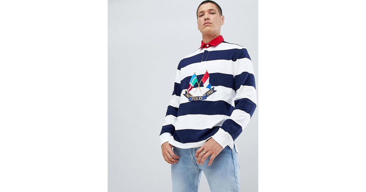5629e9549e6 Polo Ralph Lauren Bring It Back Embroidery Flags Long Sleeve Stripe Rugby  Polo Contrast Collar In White/navy/red in White for Men - Lyst