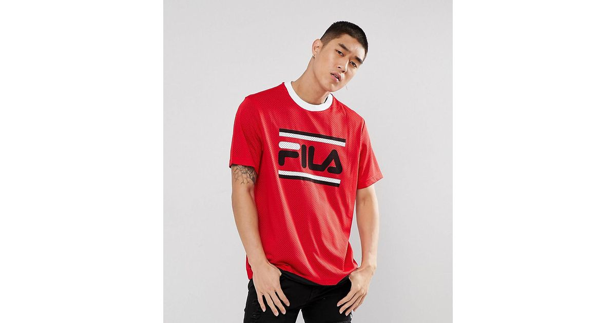 d1b3365578b9 Fila Black Line Mesh T-shirt With Large Logo in Red for Men - Lyst
