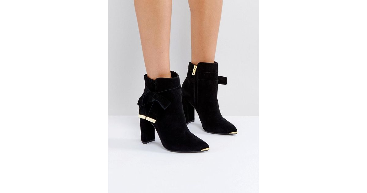 ff8ecccecb3 Lyst - Ted Baker Sailly Tie Up Black Suede Heeled Ankle Boots in Black