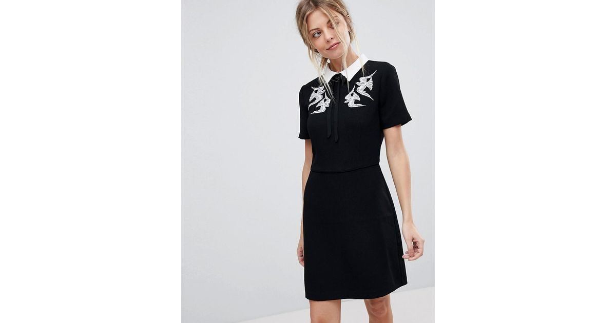 Lyst Oasis Bird Embroidered Collar Skater Dress In Black