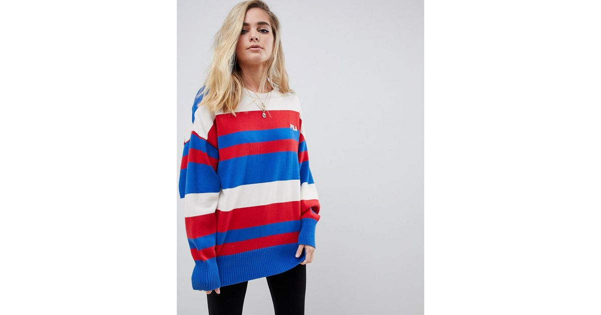 957e7f4f9445 Fila Oversized Sweater With Chest Logo In Stripe Knit in Red - Lyst