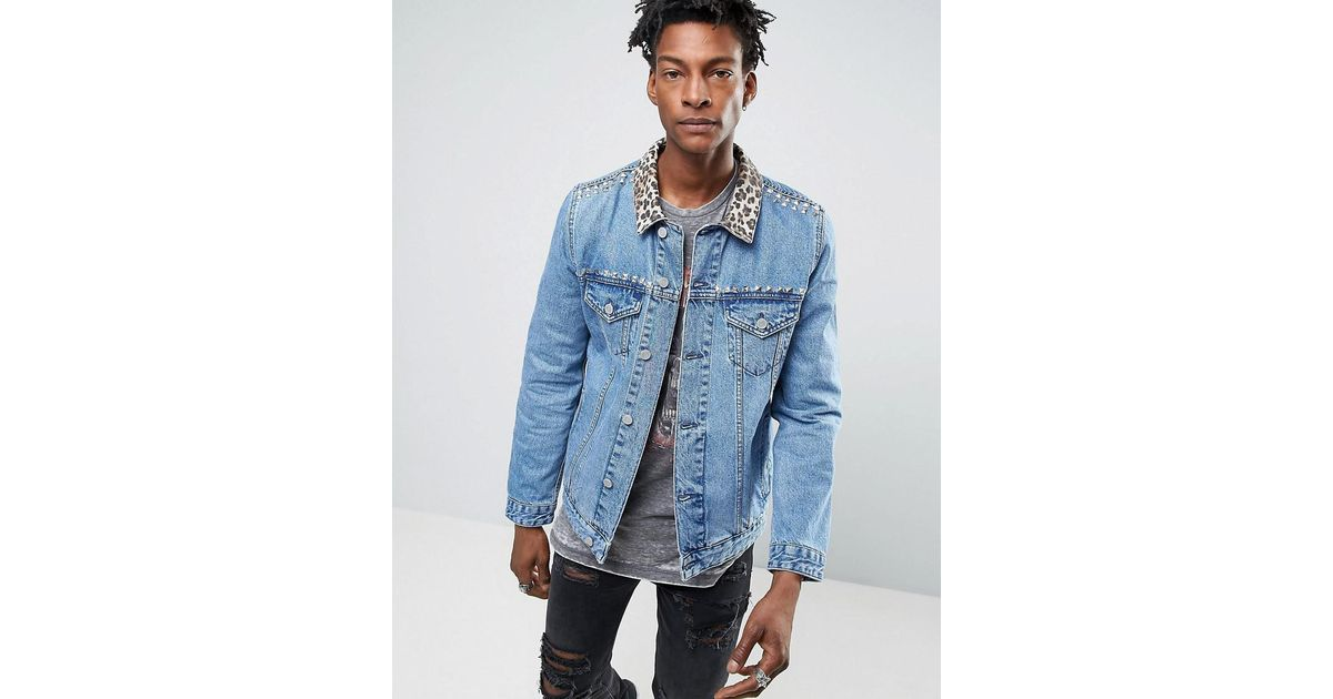 fb20dc03c609 ASOS Denim Jacket With Leopard Print Collar And Stud Detail In Blue Wash in  Blue for Men - Lyst