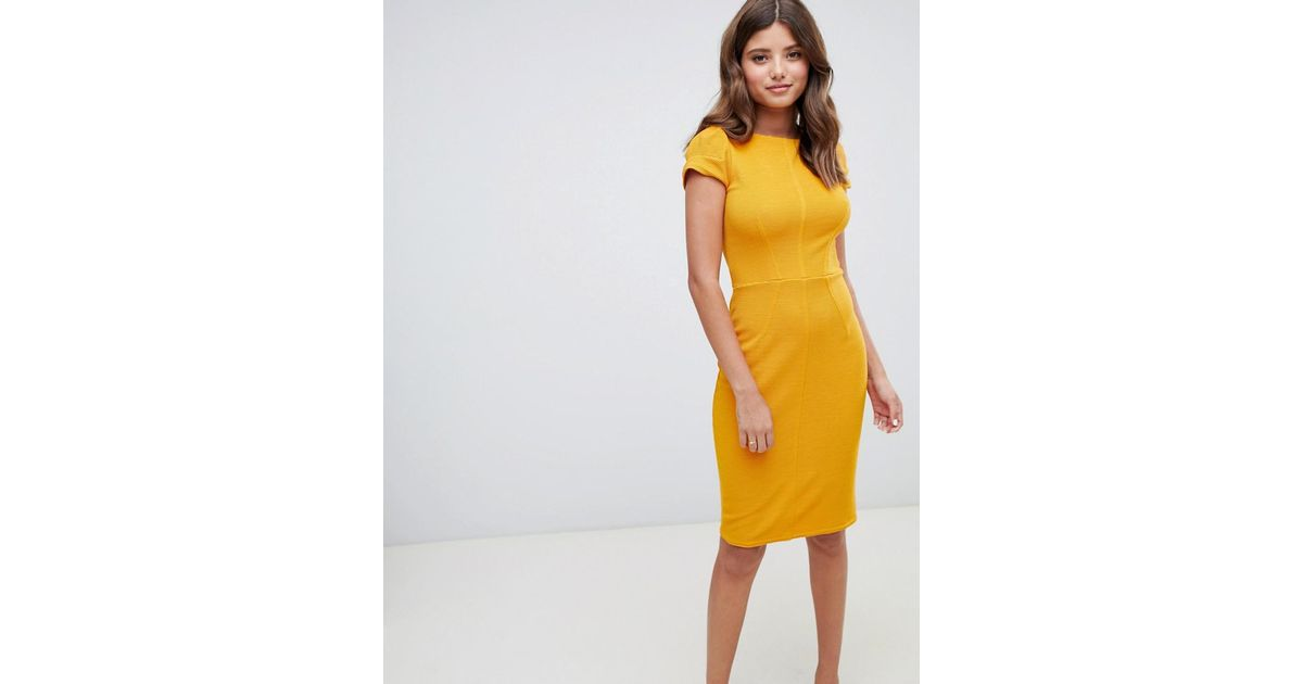 317f73ed3 Closet Ribbed Pencil Dress In Mustard in Yellow - Lyst