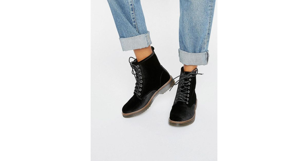 New Look Black Velvet Lace Up Ankle Biker Boots