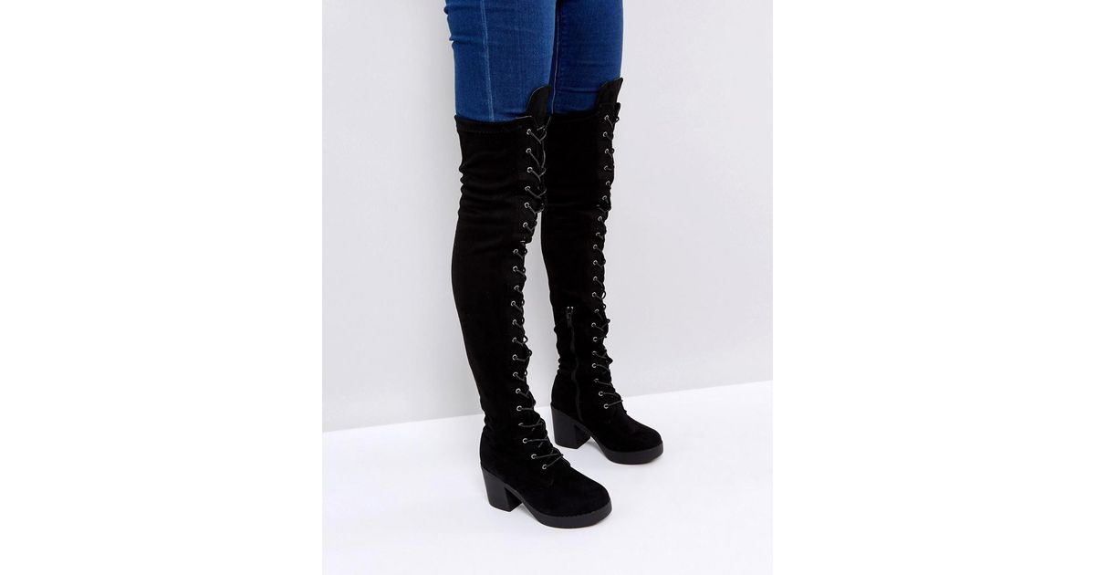697fa03925a Truffle Collection Black Chunky Heel Over Knee Boot