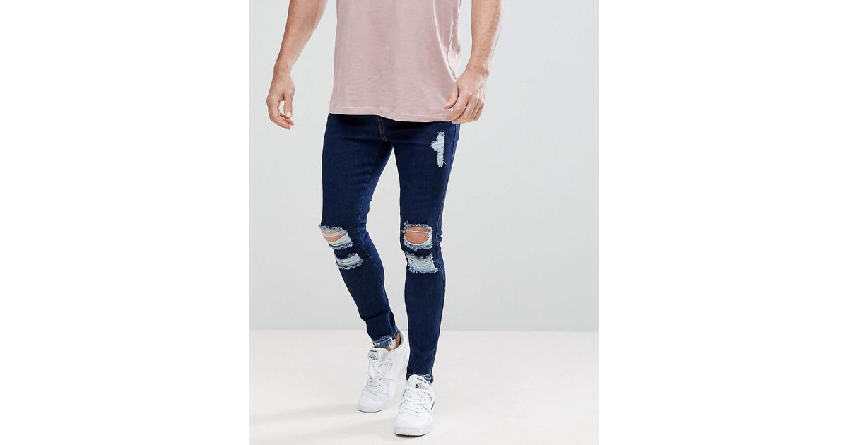 Super Skinny Fit Jeans In Darkwash Blue With Distressing - Blue Siksilk GDShSHBs
