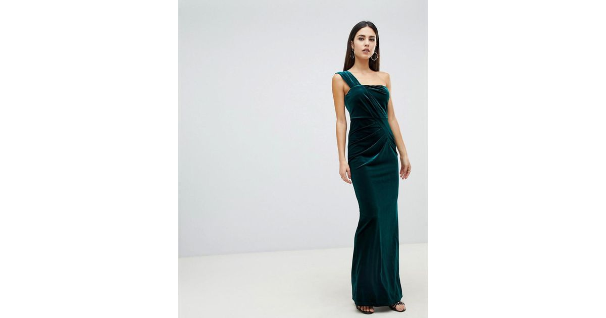768ad3b5557d ASOS One Shoulder Velvet Maxi Dress With Ruched Detail in Green - Lyst
