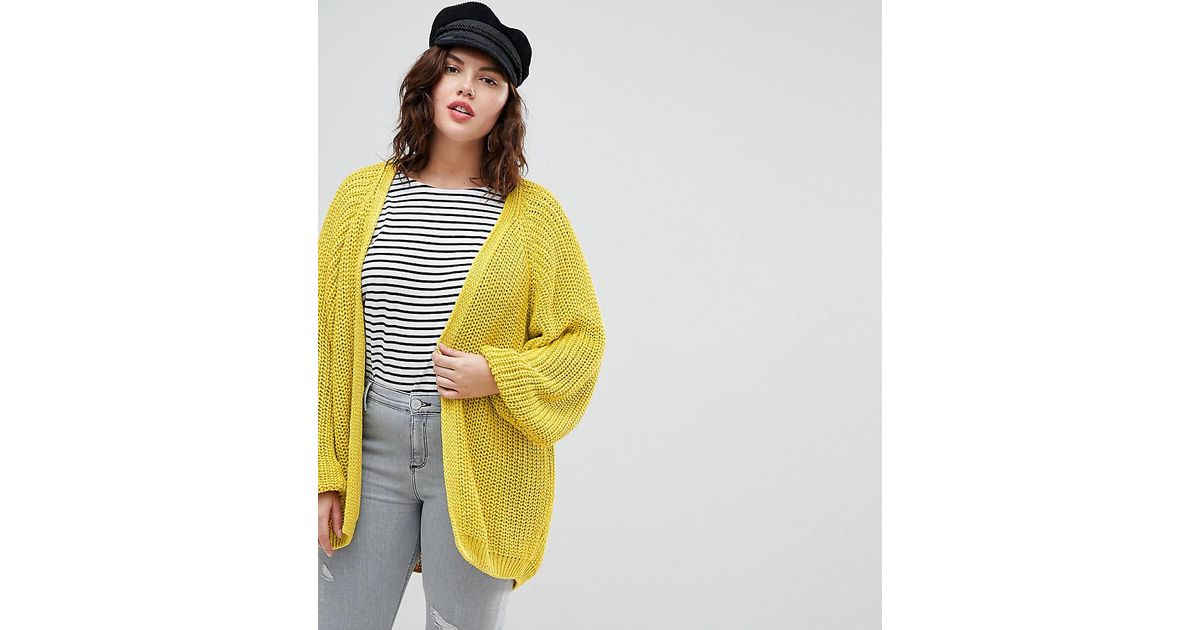 d835708f979 Lyst - River Island Chunky Knit Cardigan in Yellow