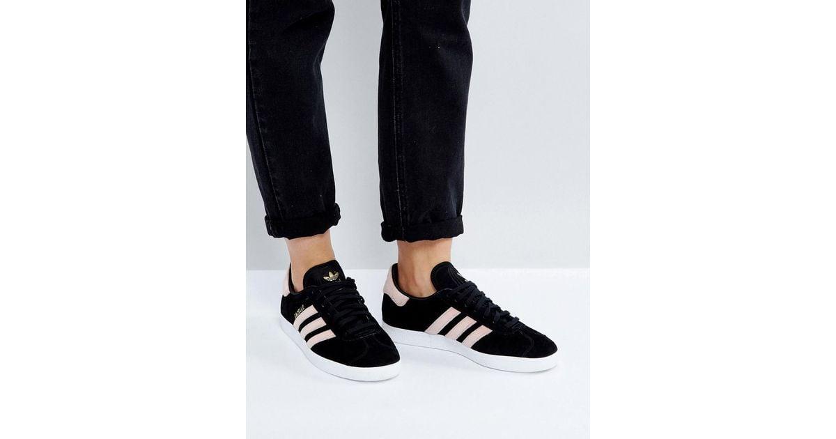 adidas Originals Black Gazelle Sneakers With Velvet Stripes