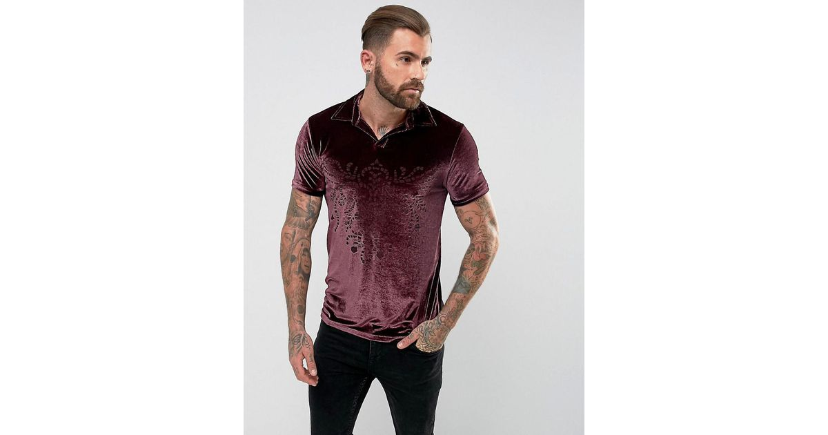 Polo Shirt With Burn Out Design In Velour - Burgundy Asos Clearance Real Cheap Very Cheap Low Shipping Fee For Sale Sale Huge Surprise Buy Cheap Explore eJ4xjsQ