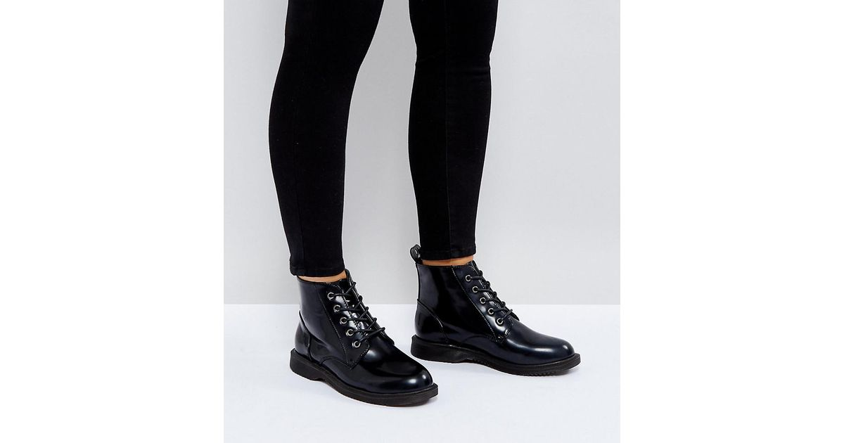 d2563b26d3c Truffle Collection Black Wide Fit Lace Up Ankle Boots