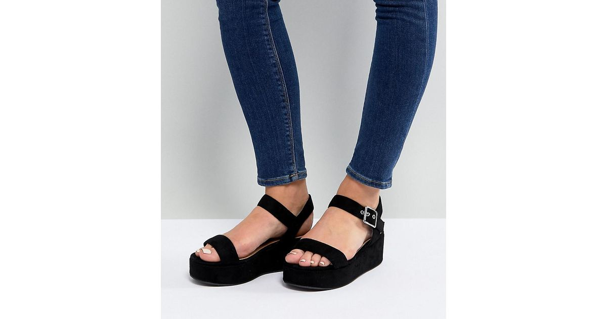 0e0f6d5bb7e1 ASOS Asos Toucan Wide Fit Wedge Sandals in Black - Lyst
