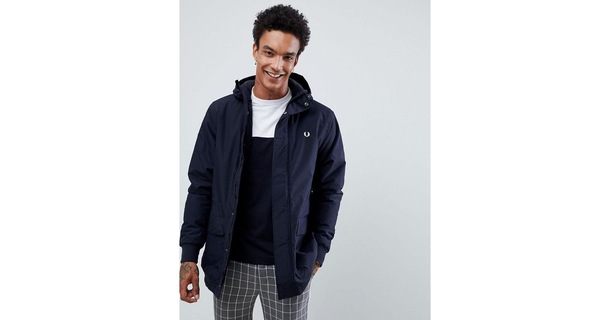 a445d5037572 Fred Perry Stockport Hooded Parka Jacket In Navy in Blue for Men - Lyst