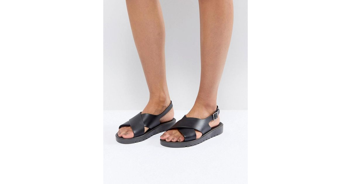 Frequent Jelly Flat Sandals Asos Black bgyY6If7v