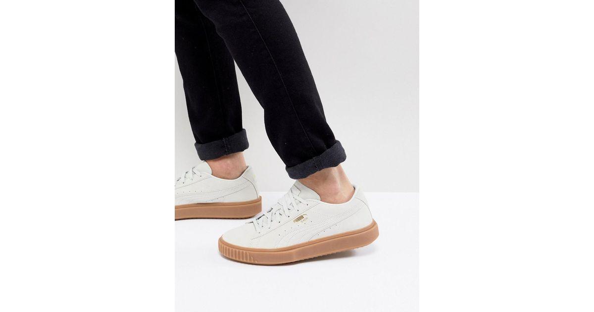 cea6dc7e4cb PUMA Breaker Suede Gum Sneakers In White 36607902 in White for Men - Lyst