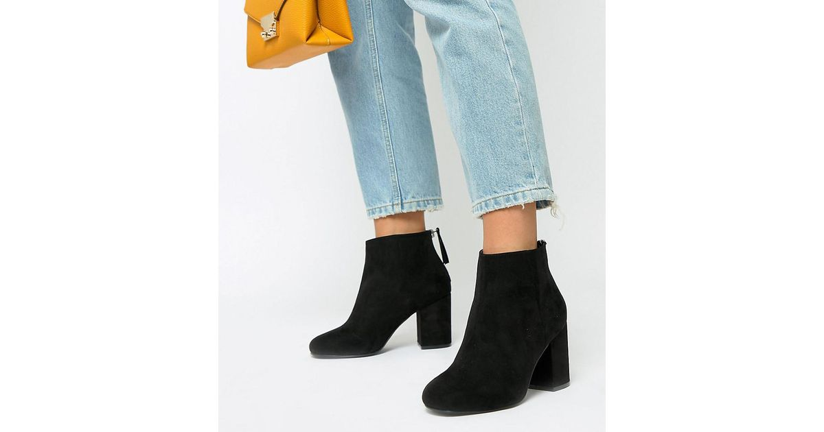 5b55232352f ASOS Black Wide Fit Beacon Zip Ankle Boots